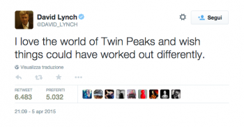 David Linch lascia la regia di Twin Peaks 3