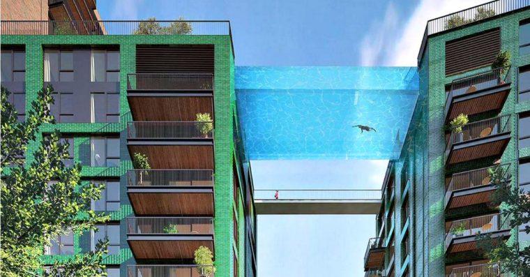 piscina sospesa londra tra grattacieli